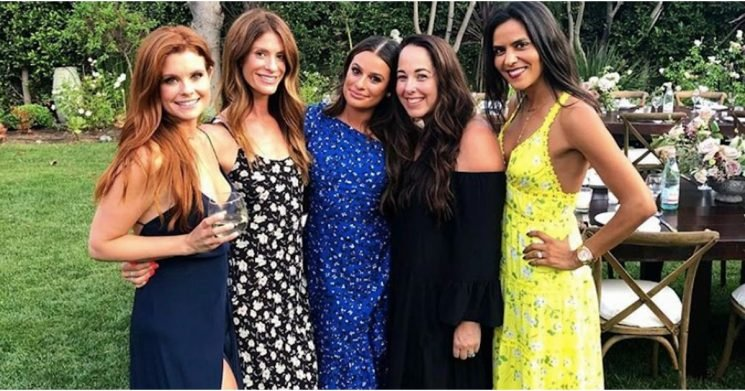 "Lea Michele's Engagement Party Dress Was Her ""Something Blue,"" So Check That Off the List"