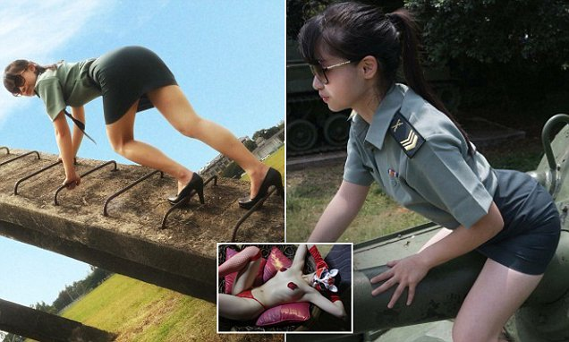 Model under fire for taking pictures in Taiwanese military uniform