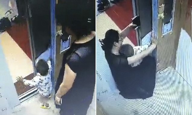Toddler gets hand jammed in a lift after playing with the door