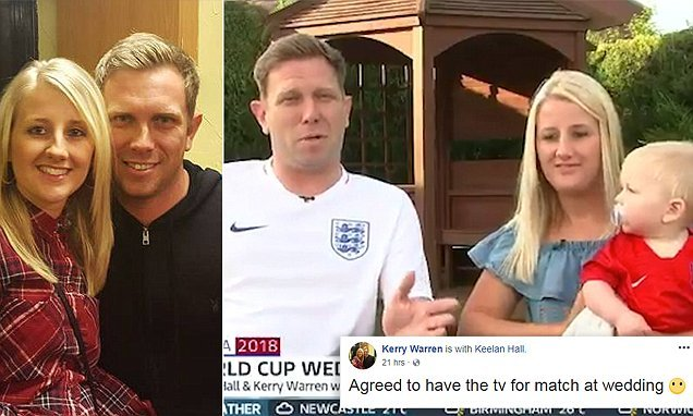 Bride-to-be gives in to groom's plea to show England World Cup match