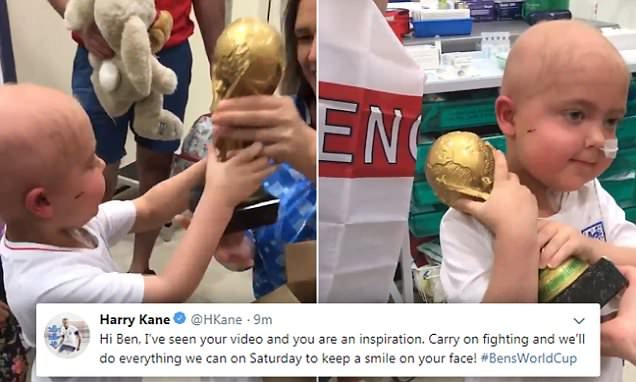 England star Harry Kane tweets his support to cancer-stricken boy
