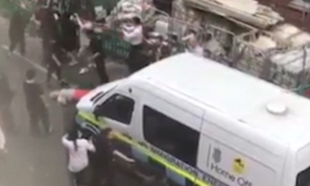 Shocking moment Home Office van nearly RUNS OVER woman