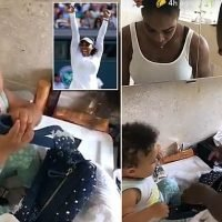 Serena Williams tends to daughter Olympia in the Wimbledon bathroom