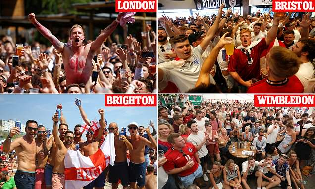 Jubilant fans celebrate England's goals in pubs around the country