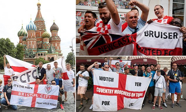 England supporters turn out in force in Moscow's Red Square