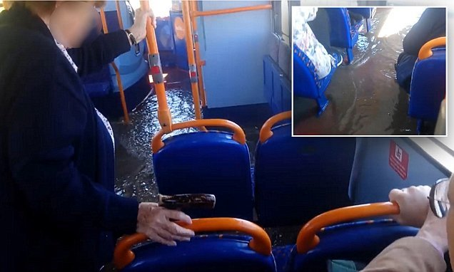 Bold bus passenger refuses to budge as water rises around her feet
