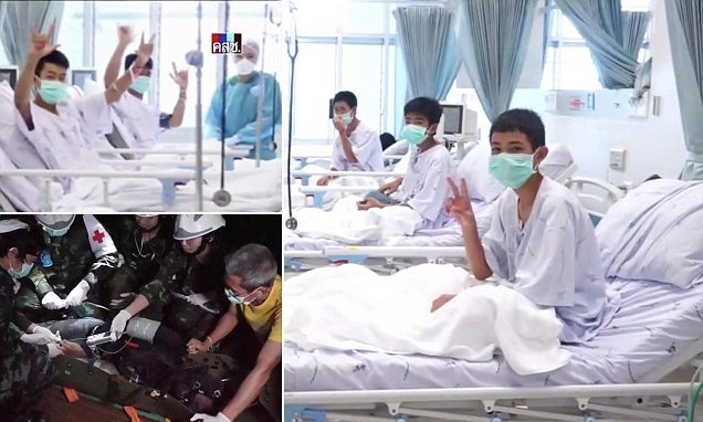 We're okay! Thai cave boys smile and wave from hospital beds