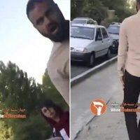 Iran hijab protester is threatened with a tear gas canister by a man