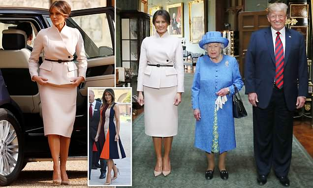 Melania Trump changes into an elegant outfit for tea with the Queen