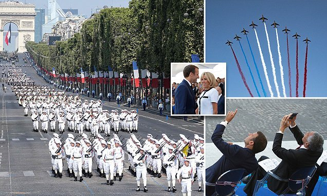 President Macron and his wife attend Bastille Day celebrations