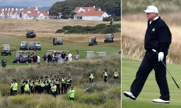 LIZ JONES on how Donald Trump shrugged off protesters for golf