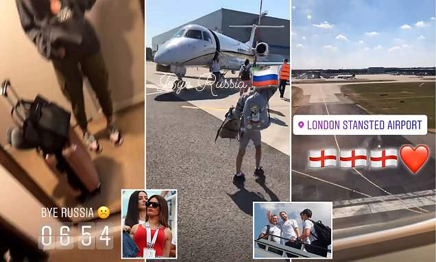 She's coming home! Becky Vardy touches down in London with her family