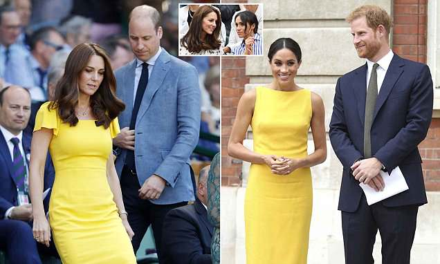 Kate dons yellow dress a WEEK after Meghan wore EXACT same shade