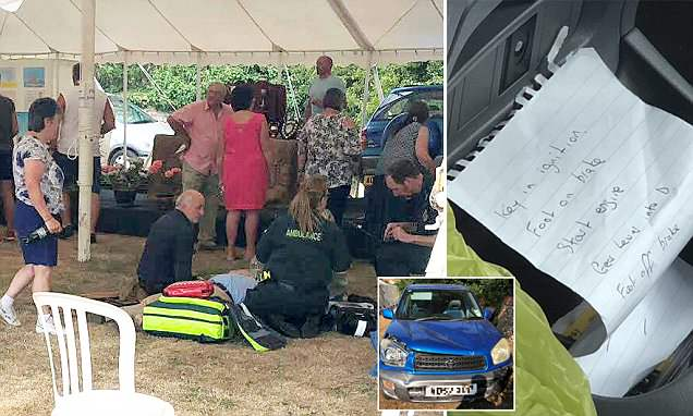 Elderly motorist drives car through flower show after losing control