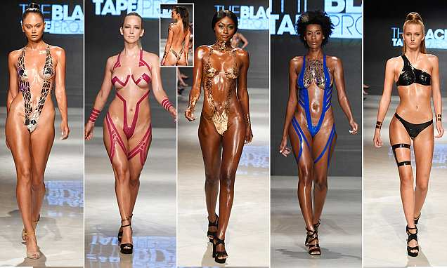 Catwalk models don bikinis made out of TAPE