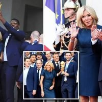 Brigitte Macron celebrates France's World Cup victory in Paris