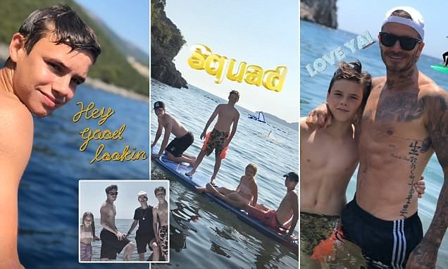 Brooklyn Beckham goes shirtless as he shares a sweet family photo