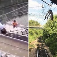 Girl miraculously survives after falling onto live electric cables