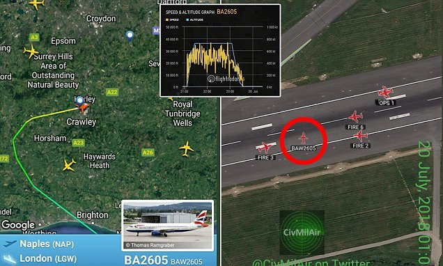 Flights to Gatwick diverted after plane is forced to emergency land