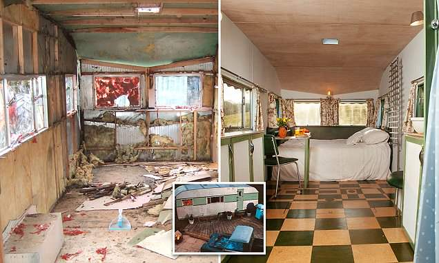 The ruined 1950s caravan that's been transformed into a stunning suite