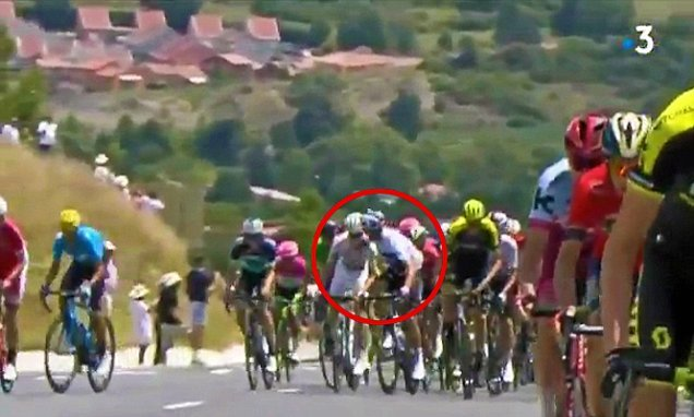 Moscon THROWN OFF Tour de France after striking rival on the head