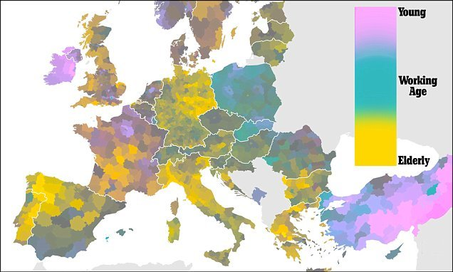 Revealing map lays bare Europe's population crisis