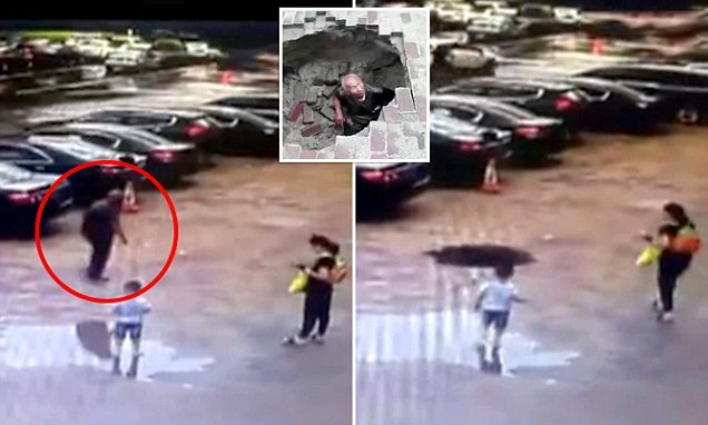 Pensioner gets swallowed by a sinkhole as pavement suddenly collapses
