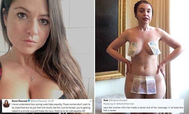 Karen Danczuk is branded a 'hypocrite' after she slams nude don