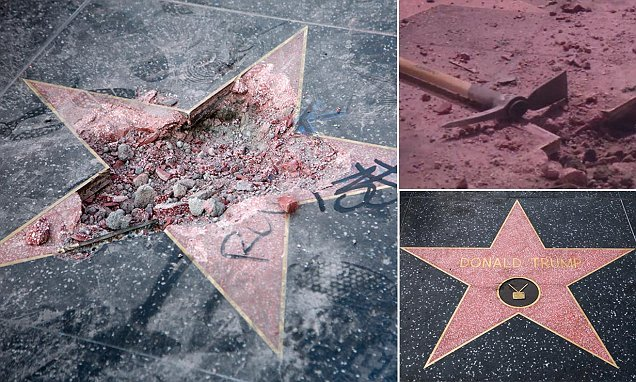 Trump's Hollywood Walk of Fame star is destroyed with a pick axe AGAIN