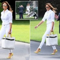 Melania wears all-white ensemble as she leaves for the weekend