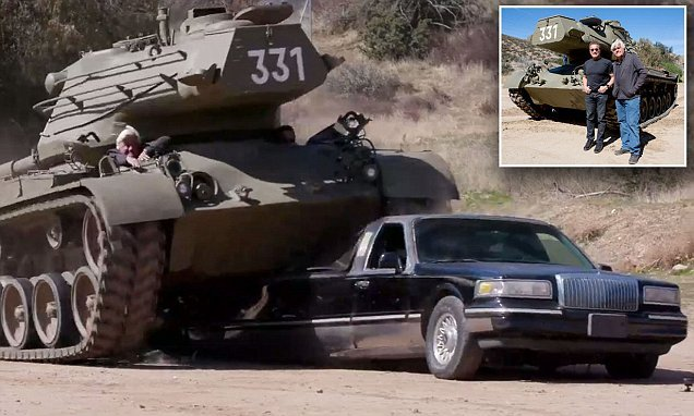 Arnold Schwarzenegger demolishes limousine with his old tank