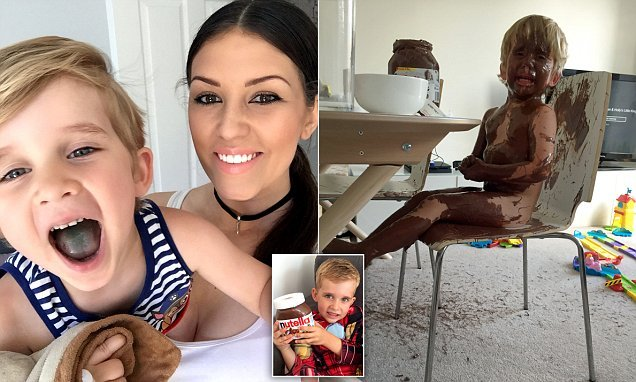 Mother shares photo of her mischievous toddler smothered in Nutella