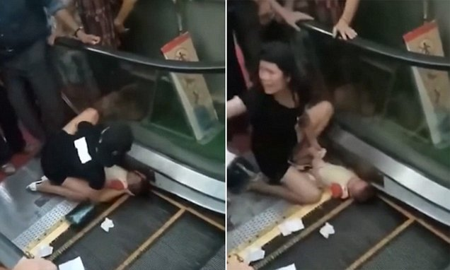 Toddler nearly has her arm ripped off by 'faulty escalator'
