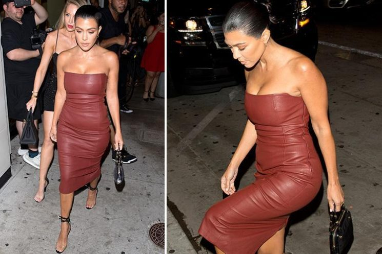 Kourtney Kardashian looks incredible in a strapless red leather dress at dinner in LA