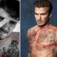 Brooklyn Beckham copies dad David's tattoo and gets three cherubs on his chest
