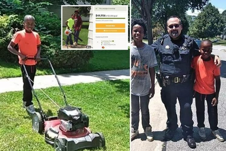 Child entrepreneur, 12, whose neighbour called cops because he accidentally mowed her lawn has last laugh after community raise £34k for him