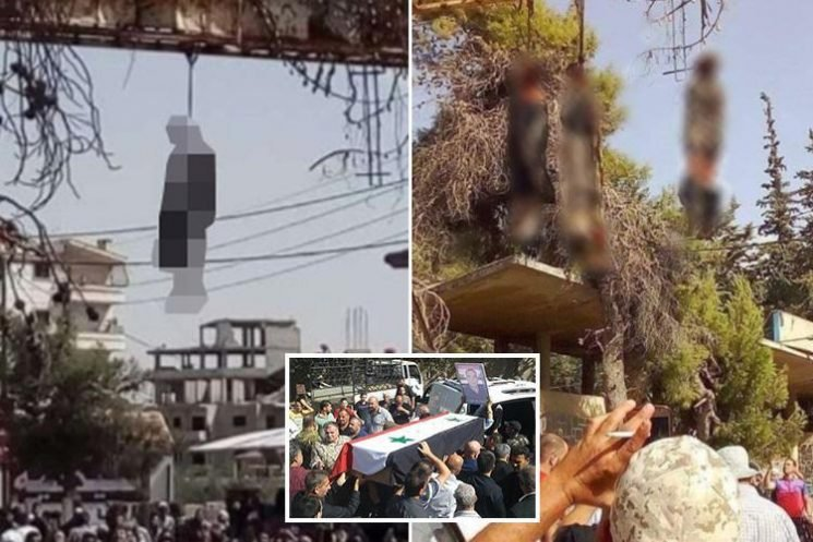 ISIS fighters' bodies 'left hanging in the streets by furious locals' after bloodthirsty jihadis slaughter over 200 in small Syrian city
