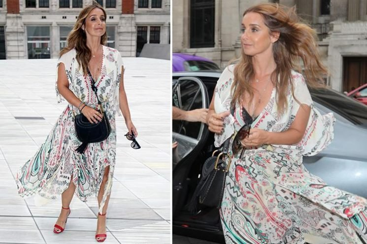 Louise Redknapp flashes her bra and goes boho in a printed dress with red heels as she attends Simon Cowell's summer party