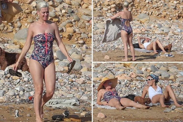 Katy Perry hits the beach in a vibrant swimsuit with her adorable dog Nugget
