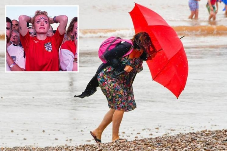 UK weather sees clouds blanket Britain after World Cup exit with thunderstorms to hit TODAY – but 28C sun to return for weekend
