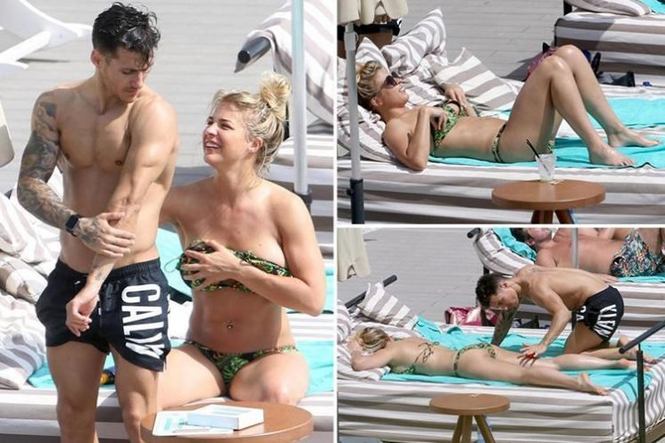 Gemma Atkinson rubs sun cream on her Strictly star boyfriend Gorka Marquez as they enjoy another holiday in Ibiza