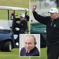 Donald Trump hits his Turnberry golf course for second day ahead of flight to meet Vladimir Putin in Helsinki