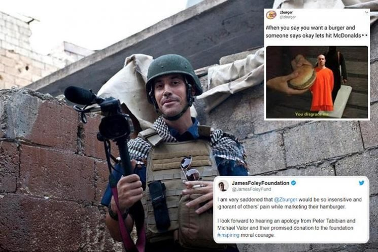 Burger chain slammed by family of photojournalist beheaded by ISIS after using James Foley execution picture in 'joke advert'