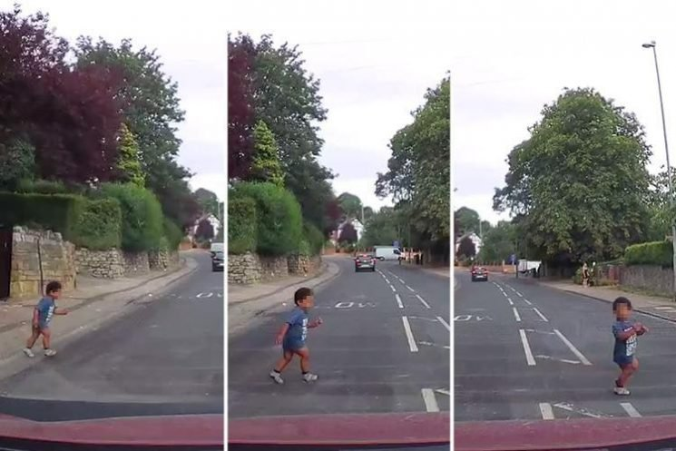 Heart-stopping moment toddler nearly runs into path of car – only for grandparents to 'shrug their shoulders' when driver confronted them