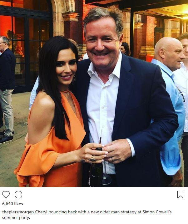 Piers Morgan jokes that Cheryl is 'bouncing back' from Liam Payne with a 'new older man strategy' as they pose at Simon Cowell's summer party