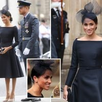 Meghan Markle wears deep navy (NOT black) Dior dress to RAF ceremony at Westminster Abbey