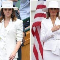 Emma Watson channels Melania Trump in a Ralph Lauren trouser suit at Wimbledon