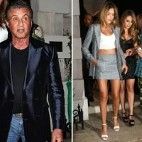 Sylvester Stallone is joined by his wife and three daughters as they celebrate his 72nd birthday party in London
