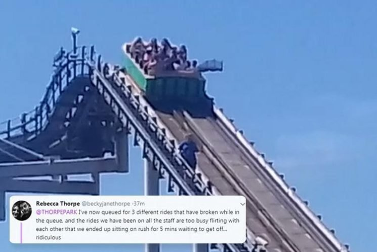 Thorpe Park thrill seekers stuck at top of rollercoaster in 30C sun 'for 10 minutes' as 'multiple rides' break down in heatwave