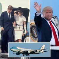 Donald Trump orders new patriotic paint job on Air Force One ditching the baby blue colour scheme chosen by Jackie Kennedy